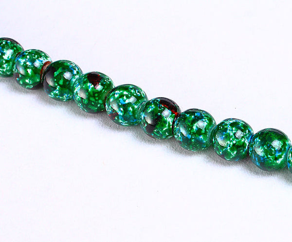 6mm green black round glass beads - 6mm round beads - 6mm opaque beads - 20 pieces (942)