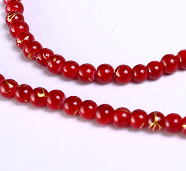 4mm Red gold round glass opaque bead strand - 100 pieces (949)