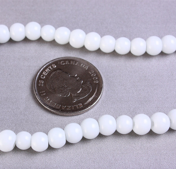 6mm white round glass beads - Opaque beads - Round beads - 1 strand (955)