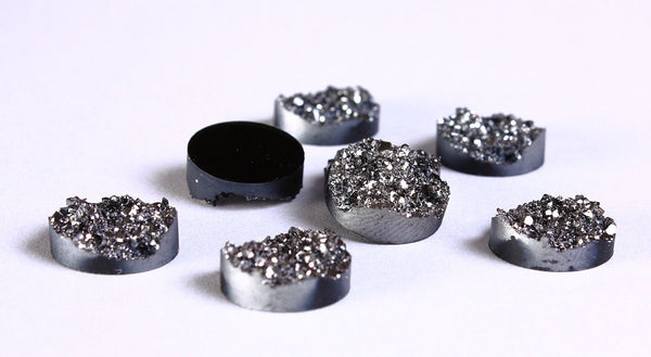 12mm Silver black round resin cabochon - Faux druzy cabochon - Faux drusy cabochon - Textured cabochons - 8 pieces (962)