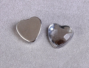 8mm silver faceted heart cabochons with Silver Foil - 10 pieces (968)