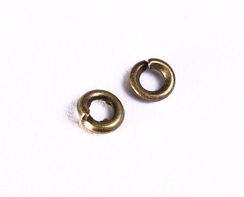 3mm Petite antique brass jumpring - antique brass jump ring - open round jumprings - 50 pieces (987)