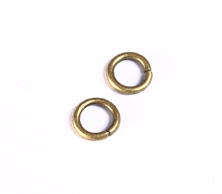 7mm antique brass jumpring - open jump rings - round jumprings - nickel free - lead free - cadmium free - 50 pieces (989)