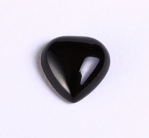 10mm black agate heart cabochons - gemstone cabochons - 4 pieces (1015)