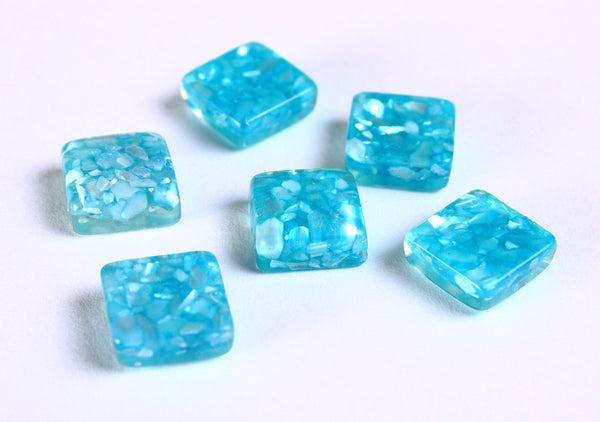 10mm Blue square cabochons - 10mm Blue resin with shell cabochon - 6 pieces (1068)