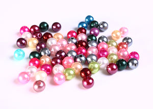 6mm Pearl finish Mixed color beads - 6mm faux pearl beads - 6mm round beads - 50 pieces (1054---)