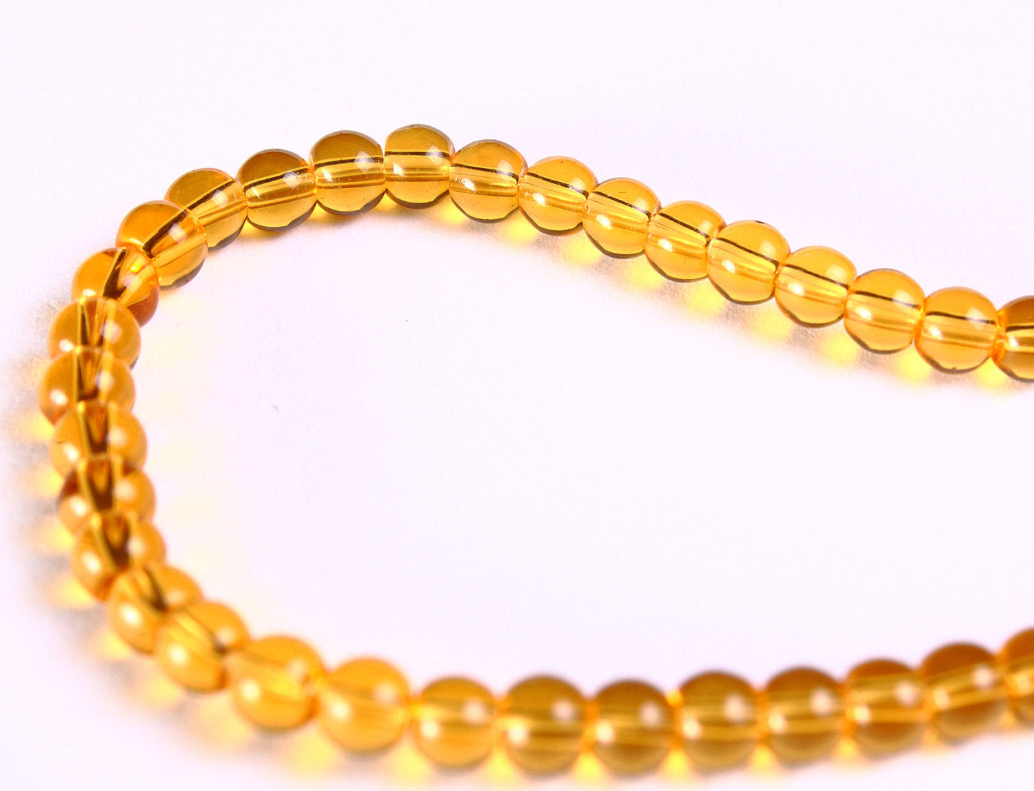 4mm Gold glass beads - 4mm yellow round beads - 1 strand (328)