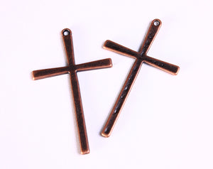 Antique copper cross - Cross charm- Cross pendant antique copper- tibetan style cross charm - Christian cross - 61mm x 36mm - 5 pieces (1072)