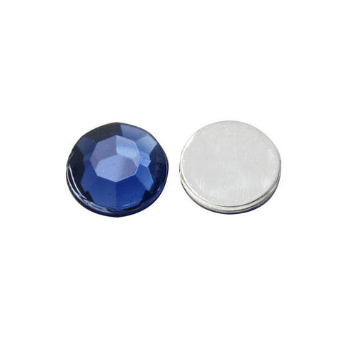 12mm blue cabochon - 12mm blue round cabochon - 12mm blue faceted cabochon - 12mm cabochon with silver tone foil - 6 pieces (1074)