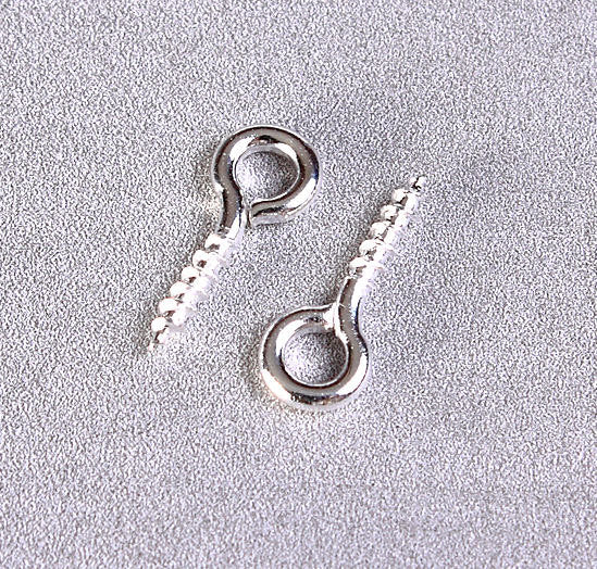 10mm x 4mm Silver plated screw eyes bails - top drilled findings - Mini Loops Screws - Mini Screw Eye Pins - 100 pieces (1048)