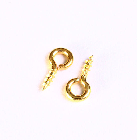 10mm x 4mm - Gold tone screw eyes bails top drilled findings - Nickel free lead free - 50 pieces (1035)