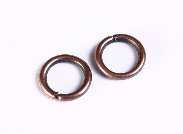 10mm antique copper jumpring - 10mm round jump rings - 10mm jump rings - 10mm open jump rings - 40 pieces (1056)