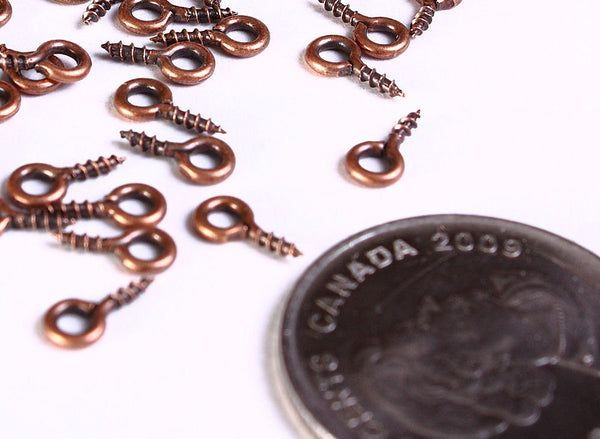 Antique copper screw eyes bails top drilled findings - 8mm x 4mm - 30 pieces (1046--)