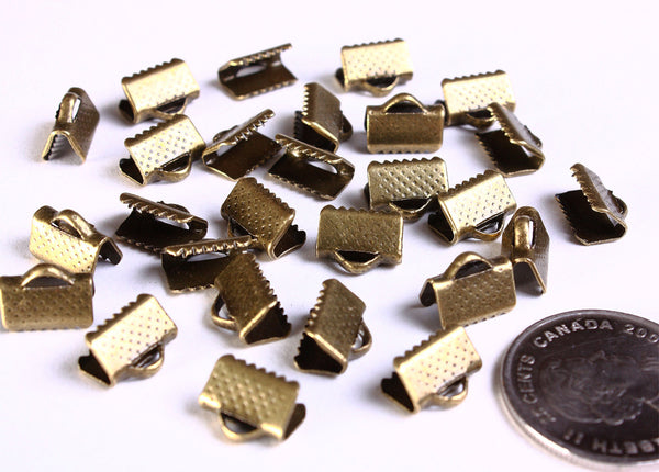 10mm x 8mm antique brass ribbon ends - antique bronze Ribbon End Cap Crimp Beads - Ribbon End Clamps - 30 pieces (1043)
