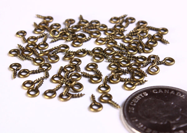 Antique brass screw eyes bails - top drilled findings - Mini Screw Eye Pins - 8mm x 4mm - 50 pieces (1045)