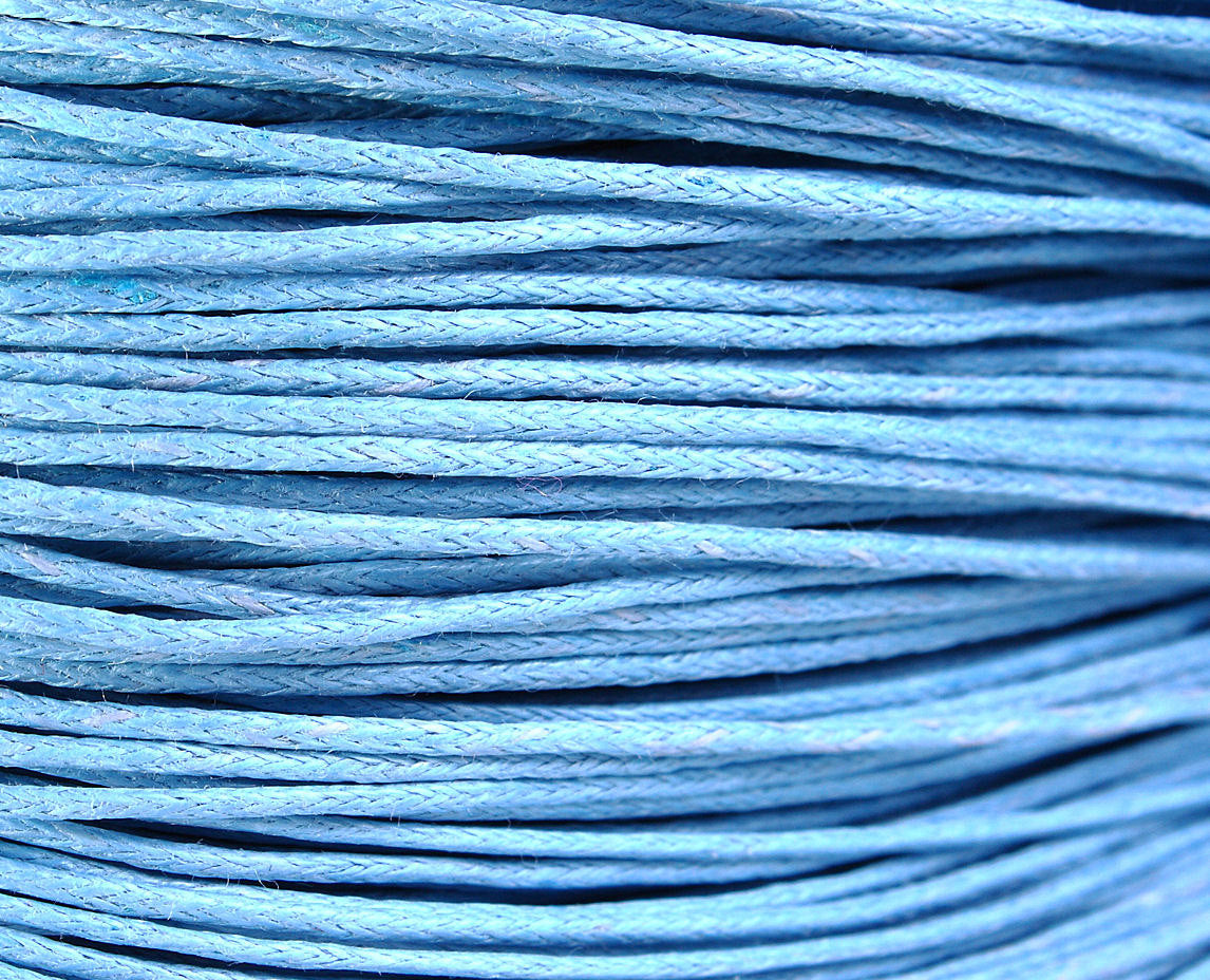 1mm Blue cotton wax cord - 10 feet (1086)