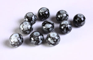 10mm black white beads - 10mm mixed color beads - 10mm round glass bead - 10mm opaque beads - 10 pieces (1087)