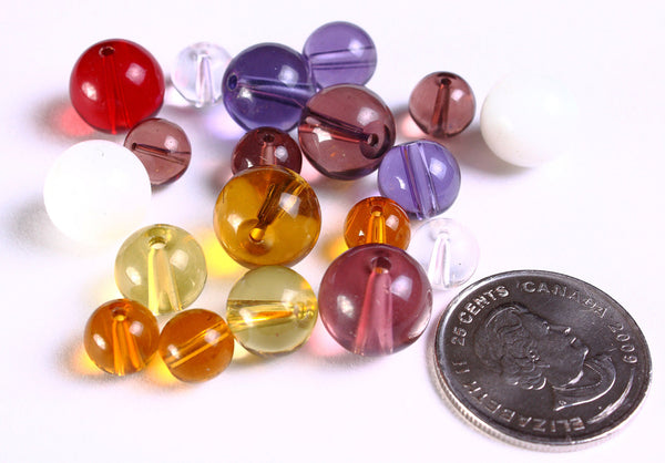 Mixed color round glass bead - - Mixed sizes beads - 10 pieces (1104---)