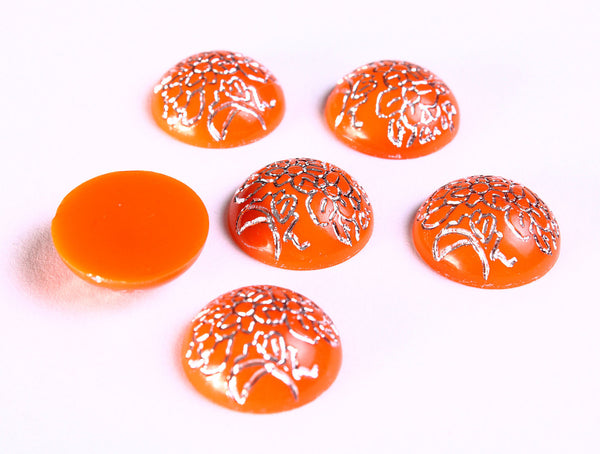 14mm Orange and silver flower cabochon - 14mm orange silver textured cabochons - 14mm round cabochons - 6 pieces (1105)