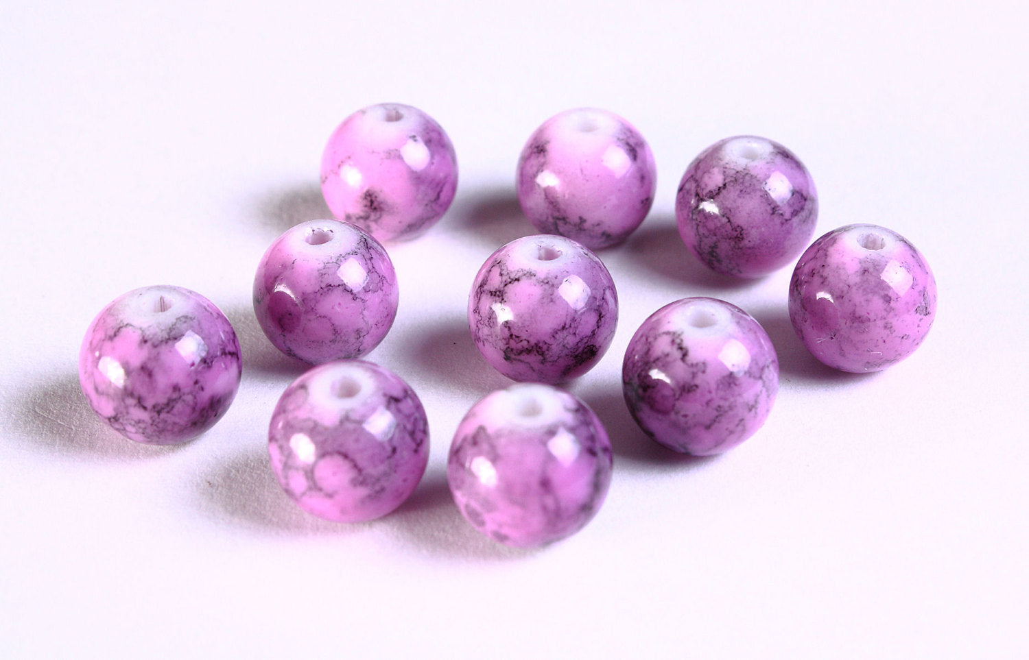 10mm mixed color round glass beads - 10mm purple beads - 10 pieces (1091)
