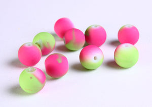 10mm green and pink rubberized beads - Multicolor rubberized glass beads - Round rubberized style glass beads - 10 pieces (1114)