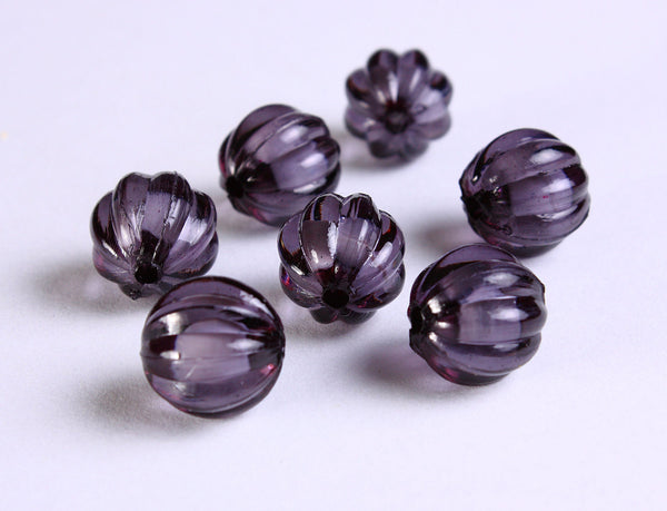 12mm Black acrylic round melon lucite bead - miracle bead - 8 pieces (1117)