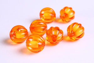 12mm Orange melon bead - miracle beads - Resin beads - Round beads - 8 pieces (1120)