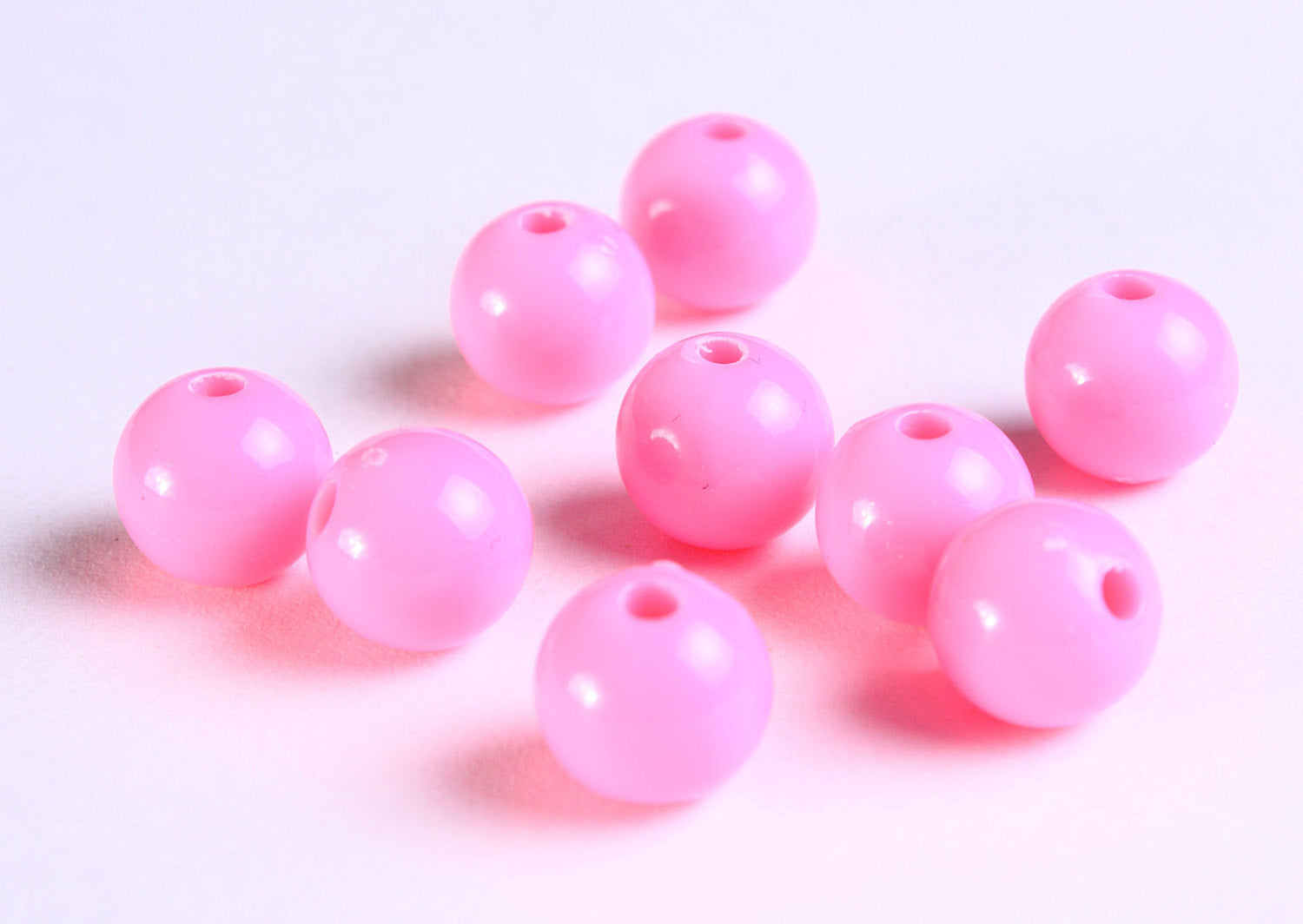10mm Pink beads - 10mm opaque beads - 10mm round beads - 10 pieces (1123)