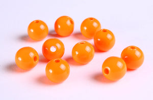 10mm Orange beads - 10mm opaque beads - 10mm round beads - 10mm acrylic bead - 10 pieces (1125)