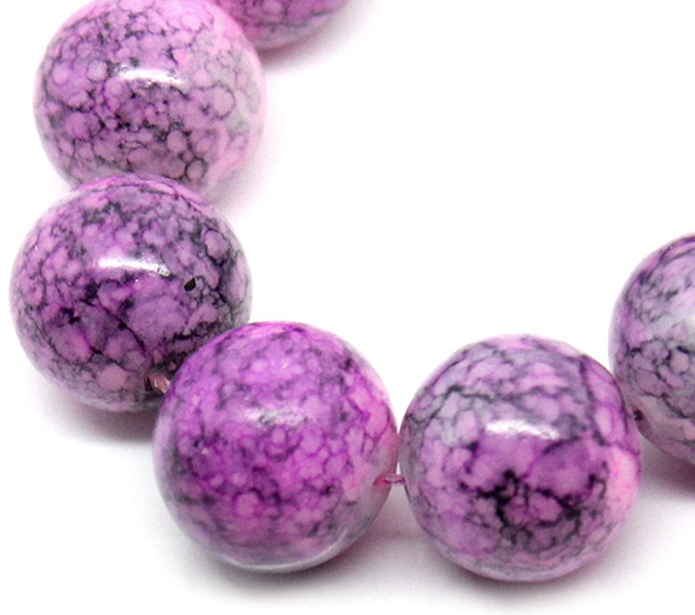 12mm Purple round beads - 12mm mottled glass beads - 8 pieces (1135)
