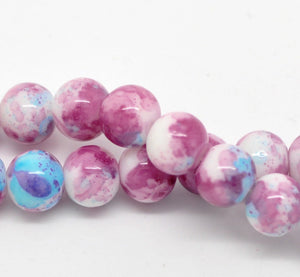 10mm Purple pink blue round mottled glass beads - 10 pieces (1134)