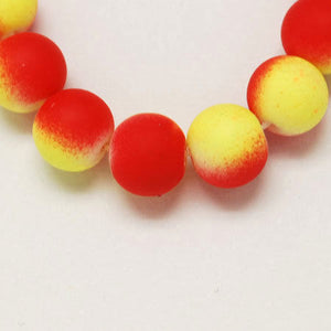 10mm red and yellow rubberized style beads - 10mm round beads - 10mm glass beads - 10 pieces (1142)