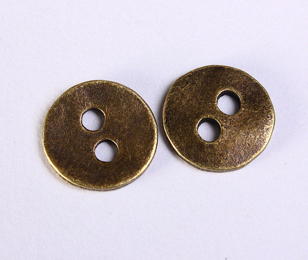 11mm antique brass button - 11mm 2 holes round button - 11mm metal button - 10 pieces (1148)