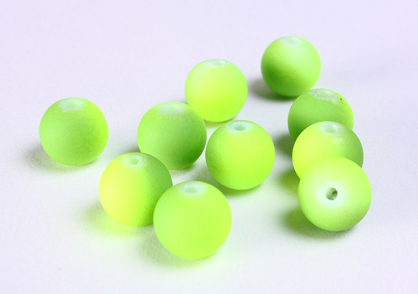 10mm green and yellow round rubberized style glass beads - Matte Rubber Beads - Rubber balls - Matte Rubber Bead - 10 pieces (1160)