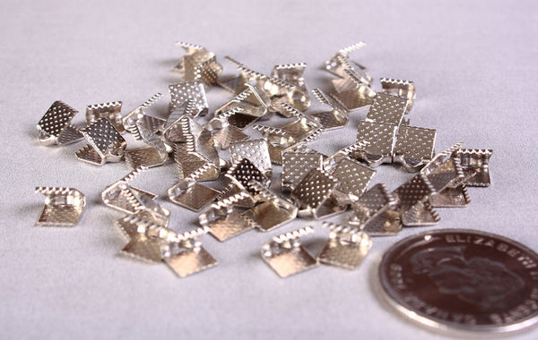 6mm x 8mm Silver ribbon ends - Silver tone ribbon ends - Textured ribbon ends - Ribbon End Clamps with Loops - 50 pieces (1163)