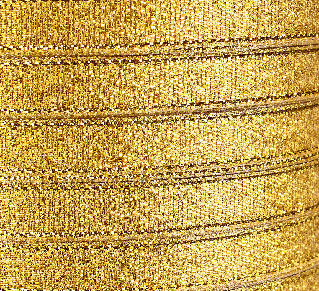 10mm Sparkle gold ribbon - 10mm Gold organza ribbon - 3/8 Inch Sparkle ribbon - 25 yards - 75 feet (R018)