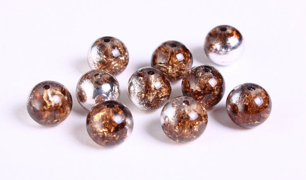 10mm mixed color round crackle glass bead - mirror silver and brown crackled beads - 10 pieces (1169)