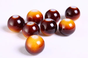 12mm brown chocolate and cream round glass beads - 8 pieces (1170)