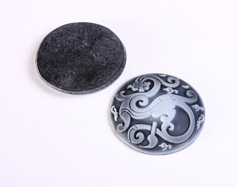 34mm Dragon black and grey round resin cabochon - 2 pieces (1174)