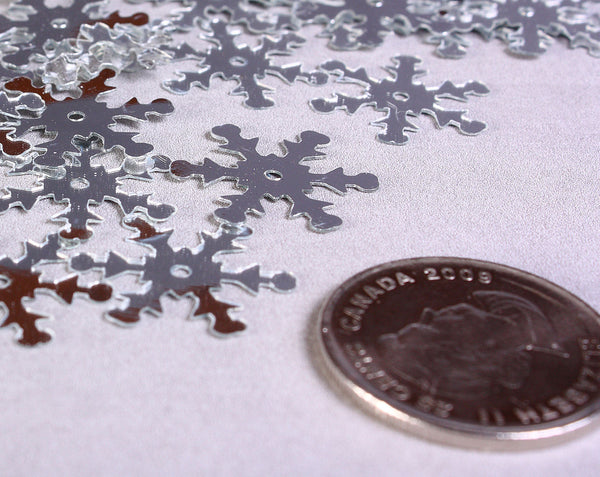 19mm Silver snowflake sequins - Silver Wedding Favors Confetti - 50 pieces (1173)