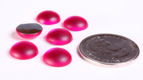 11mm Hot pink fuchsia Matte frosted finish acrylic round cabochons with silver foil - 6 pieces (1192)