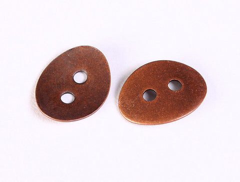 Antique copper button - metal button - 2 holes bitton - 10mm x 14mm - 6 buttons (1196)