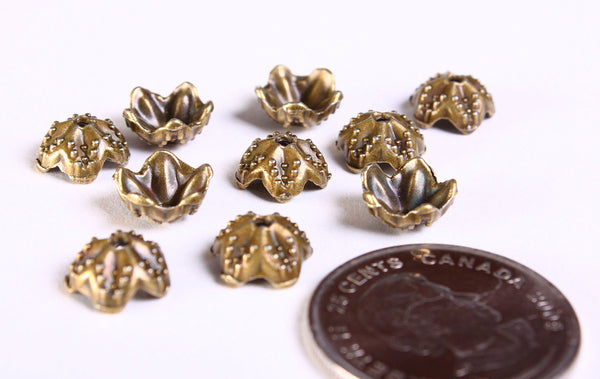 9mm antique brass flower bead caps - 9mm textured beadcaps - Cadmium free - 10 pieces (1198)