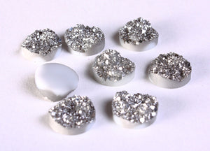 12mm Silver round resin cabochon - Faux druzy cabochon - Faux drusy cabochon - Textured cabochons - 8 pieces (1202)