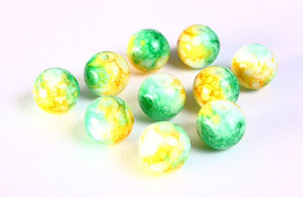 10mm mixed color round glass bead yellow and green - opaque glass beads - 10 pieces (1204)