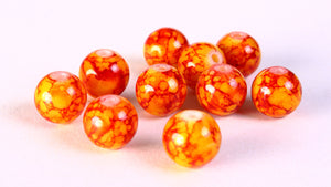 10mm mix color beads - 10mm round glass beads - orange red beads - 10 pieces (1206)