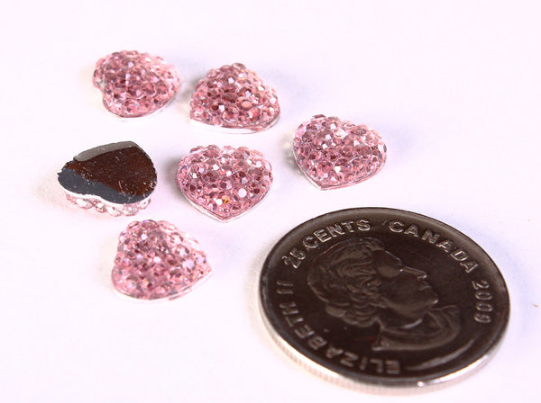 10mm pink heart cabochons - 10mm, textured heart cabochon - 10mm Heart cabochons - 6 pieces (1208)