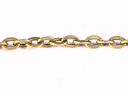 3mm x 2mm antique brass antique bronze cross chain - Nickel free Lead free - 10 feet (1217)