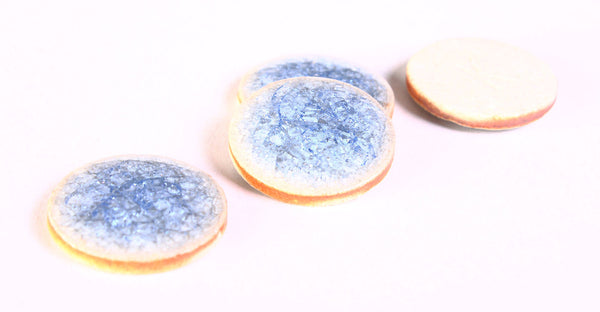 20mm blue porcelain cabochons - blue handmade cabochons - crackle cabochons - round cabochon - 4 pieces (1220)