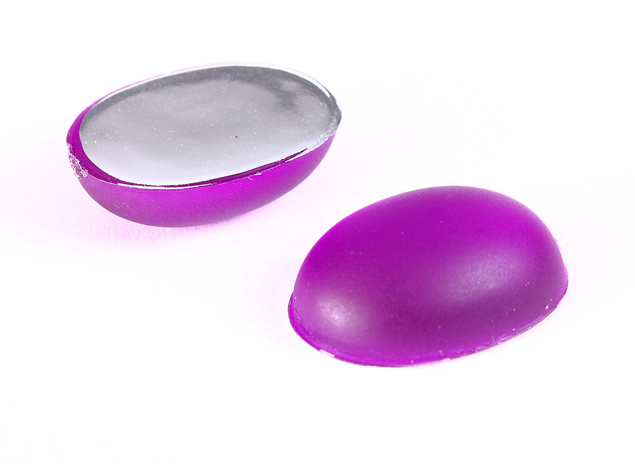Purple Matte frosted finish cabochons - Purple oval cabochons with silver foil - 18mm x 13mm - 2 pieces (1227)